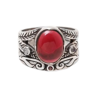 Multi-gemstone ring, 'Fiery Strength' - Multi-Gemstone Ring Crafted in India