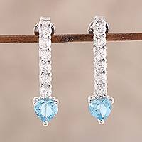 Blue topaz drop earrings, 'Fascinating Dazzle' - Faceted Blue Topaz Drop Earrings from India