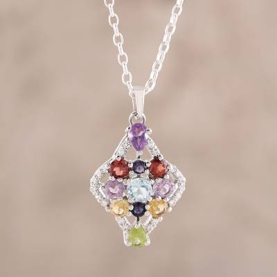 Multi-gemstone pendant necklace, 'Colorful Festivity' - Colorful Multi-Gemstone Pendant Necklace from India