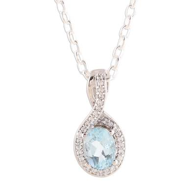 Rhodium plated blue topaz pendant necklace, 'Awesome Sky' - Faceted Rhodium Plated Blue Topaz Pendant Necklace