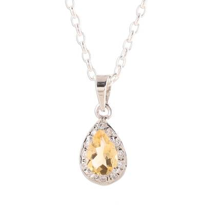 Rhodium plated citrine pendant necklace, 'Sparkling Yellow' - Rhodium Plated Citrine Pendant Necklace from India
