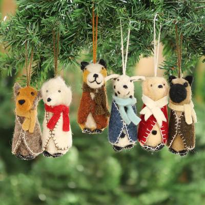 Wool ornaments, 'Cozy Puppies' (set of 6) - Embroidered Wool Dog Ornaments from India (Set of 6)