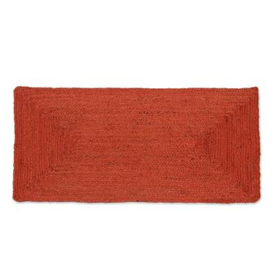 Jute area rug, 'Rectangular Beauty in Russet' (2x3.5) - Handwoven Jute Area Rug in Russet from India (2x3.5)