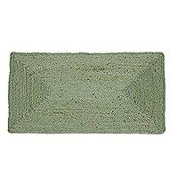 Jute area rug, 'Rectangular Beauty in Celadon' (2x3.5) - Handwoven Jute Area Rug in Celadon from India (2x3.5)