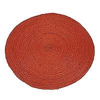 Jute area rug, 'Circular Beauty in Russet' (3 feet diameter) - Round Handwoven Jute Area Rug in Russet (3 Feet Diameter)