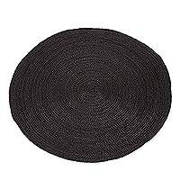Jute area rug, 'Circular Beauty in Flint' (3 feet diameter) - Round Handwoven Jute Area Rug in Flint (3 Feet Diameter)