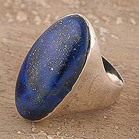 Men's lapis lazuli ring, 'Domed Royalty' - Men's Lapis Lazuli Ring Crafted in India