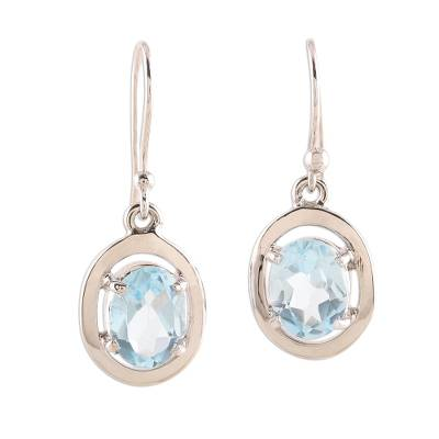 Rhodium Plated Oval Blue Topaz Dangle Earrings from India