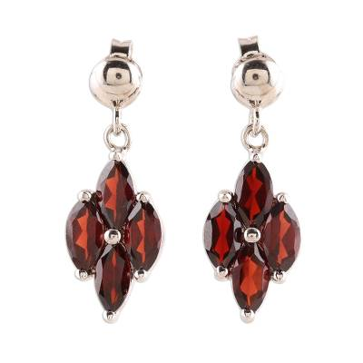 Rhodium plated garnet dangle earrings, 'Natural Charm' - 3-Carat Rhodium Plated Garnet Dangle Earrings from India