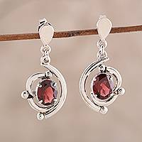 Rhodium plated garnet dangle earrings, 'Fascinating Swoop'