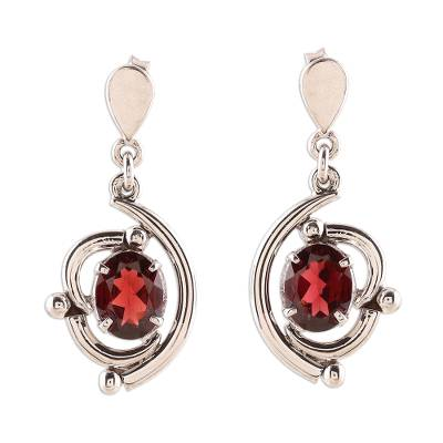 Rhodium plated garnet dangle earrings, 'Fascinating Swoop' - Curve Pattern Rhodium Plated Garnet Dangle Earrings