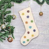 Wool felt stocking, 'Twinkling Stars' - Embellished Wool Felt Stocking from India