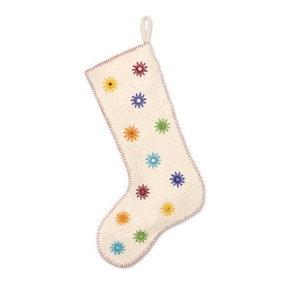 Wool felt stocking, 'Twinkling Stars' - Embellished Wool Felt Stocking from India