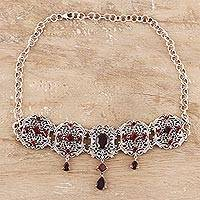 Garnet pendant necklace, 'Royal Design' - 11-Carat Garnet Pendant Necklace from India