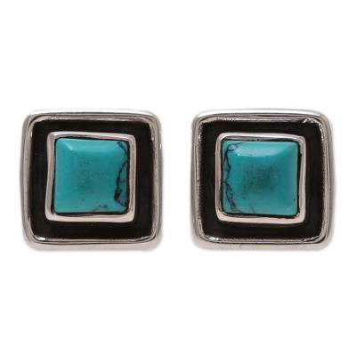 Square Calcite Stud Earrings Crafted in India