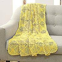 Crocheted cotton throw, 'Buttercup Charm' - Crocheted Cotton Throw in Buttercup from India