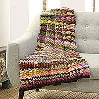Crocheted throw, 'Rainbow Fusion' - Rainbow Striped Crocheted Throw from India