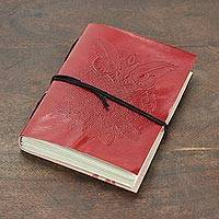 Leather journal, 'King of the Night' - Owl-Themed Leather Journal in Crimson from India