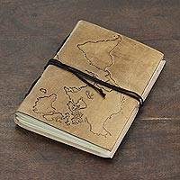 Leather journal, 'Around the World' - Handcrafted World Map Leather Journal from India