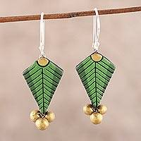 Ceramic dangle earrings, 'Green Fern' - Fern Leaf Ceramic Dangle Earrings from India