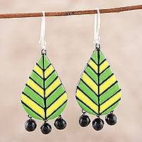 Ceramic chandelier earrings, 'Dainty Leaves' - Leaf-Shaped Ceramic Chandelier Earrings from India