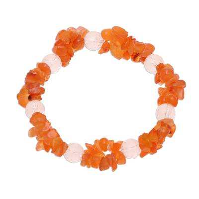 Carnelian and Quartz Beaded Stretch Bracelet from India