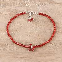 Carnelian beaded anklet, 'Appealing Beauty' - Carnelian Beaded Anklet from India