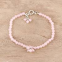 Rose quartz beaded anklet, 'Appealing Beauty'