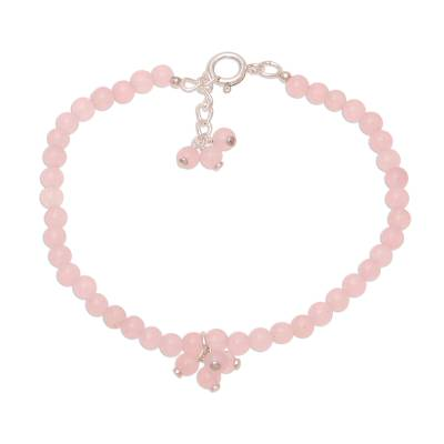 Rose Quartz Beaded Anklet from India
