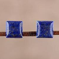 Lapis lazuli stud earrings, 'Contemporary Corners' - Square Lapis Lazuli Stud Earrings from India