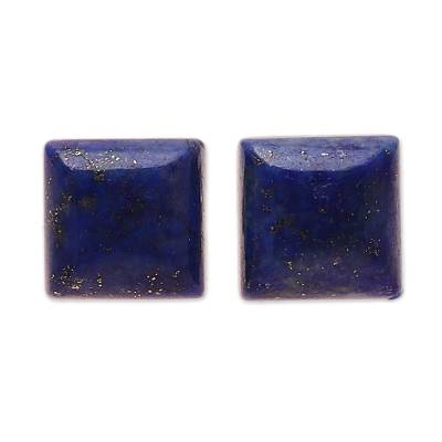 Square Lapis Lazuli Stud Earrings from India