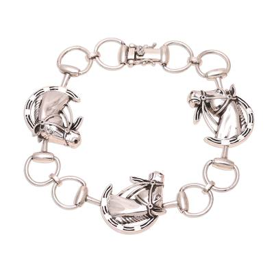 Sterling Silver Horse Link Bracelet from India