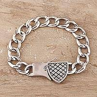 Men's sterling silver bracelet, 'Shield of Protection' - Men's Sterling Silver Protection Bracelet from India