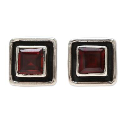 Faceted Garnet Square Stud Earrings from India