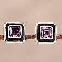 Amethyst stud earrings, 'Regal Frame' - Square Amethyst Stud Earrings from India