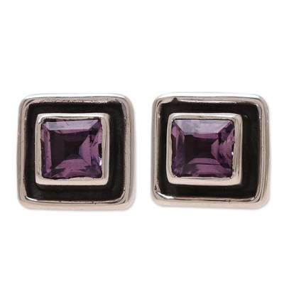 Square Amethyst Stud Earrings from India