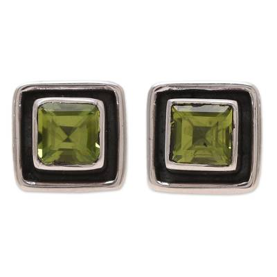 Square Peridot Stud Earrings from India