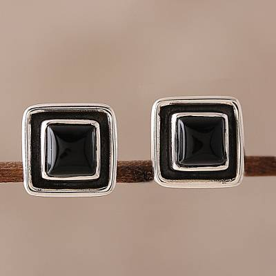 Onyx stud earrings, Midnight Frame