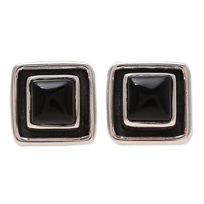 Square Onyx Stud Earrings from India