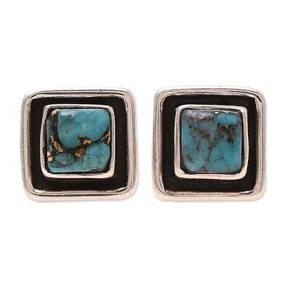 Square Sterling Silver and Composite Turquoise Stud Earrings