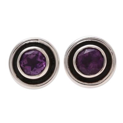 Circular Amethyst Stud Earrings from India
