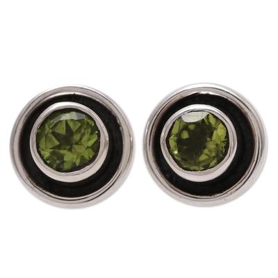 Circular Peridot Stud Earrings from India