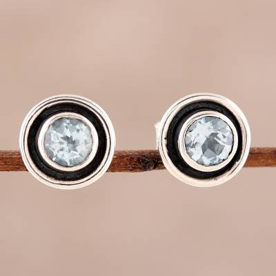 Blue topaz stud earrings, 'Graceful Frames' - Circular Blue Topaz Stud Earrings from India
