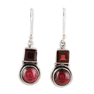 Square and Circular Garnet Dangle Earrings from India