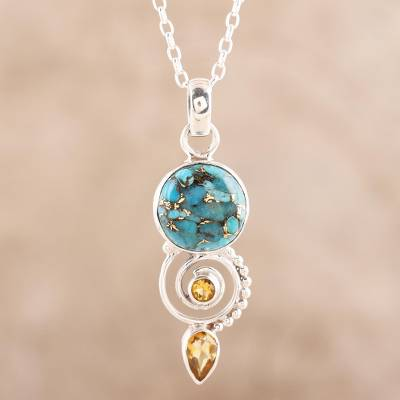 Citrine pendant necklace, 'Cool Labyrinth' - Citrine and Composite Turquoise Spiral Pendant Necklace