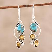 Citrine dangle earrings, 'Classic Glamour' - Faceted Citrine and Composite Turquoise Dangle Earrings