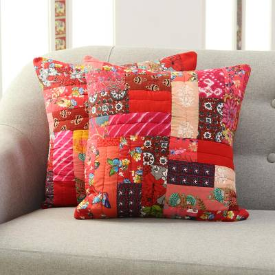 Cotton patchwork cushion covers, 'Floral Bliss' (pair) - Floral Cotton Patchwork Cushion Covers in Red (Pair)