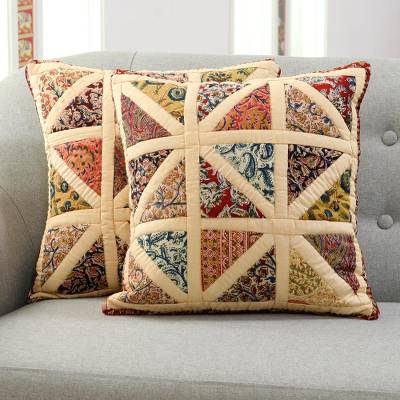 Cotton patchwork cushion covers, 'Floral Pyramids' (pair) - Floral Cotton Patchwork Cushion Covers in Buff (Pair)