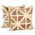 Cotton patchwork cushion covers, 'Floral Pyramids' (pair) - Floral Cotton Patchwork Cushion Covers in Buff (Pair) (image 2a) thumbail