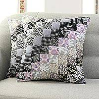 Cotton patchwork cushion covers, 'Grey Floral' (pair) - Floral Cotton Patchwork Cushion Covers in Grey (Pair)
